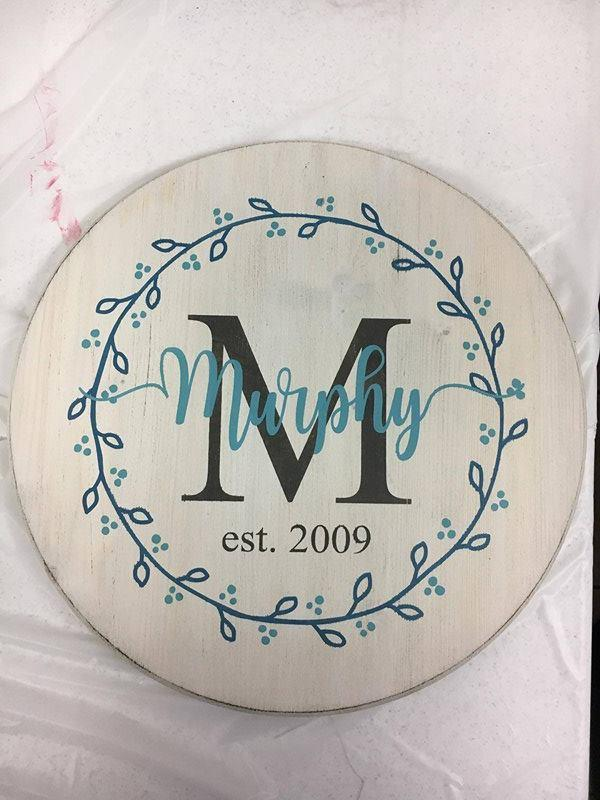 "Family name with Initial EST with wreath (last name with tails) 15"" round"