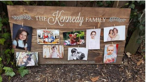 (family name) where life beings and love never ends photo board 17.5x32