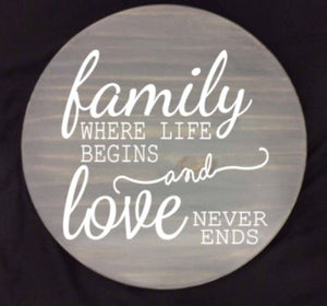 "Family where life begins and love never ends 15"" Lazy Susan"