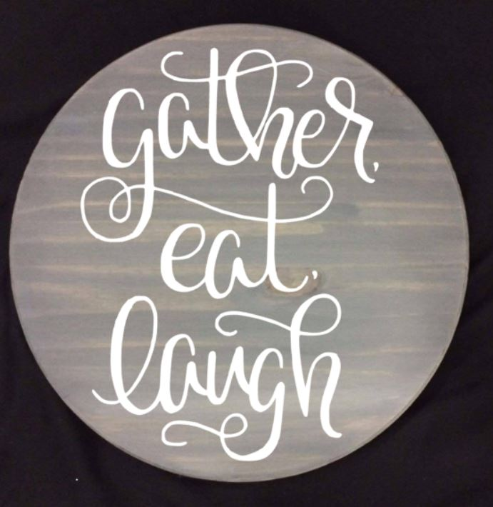 "Gather eat laugh 15"" Round Lazy Susan"