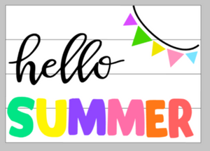 Hello summer with banner 14x17