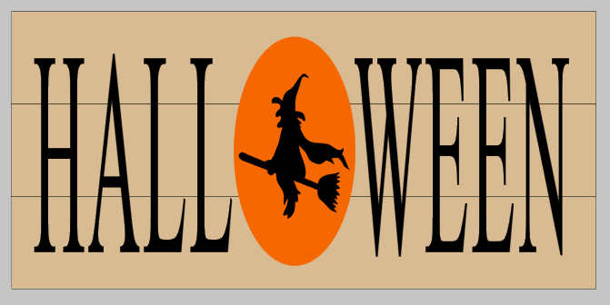 Halloween with witch as O 10.5x22