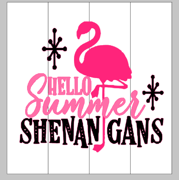 Hello summer shenanigans with flamingo 14x14.