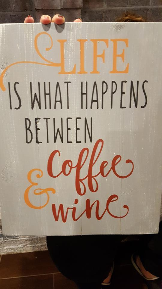 Life is what happens between coffee and wine 14x17