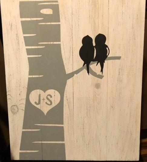 Tree with birds-couples initials in tree 14x17