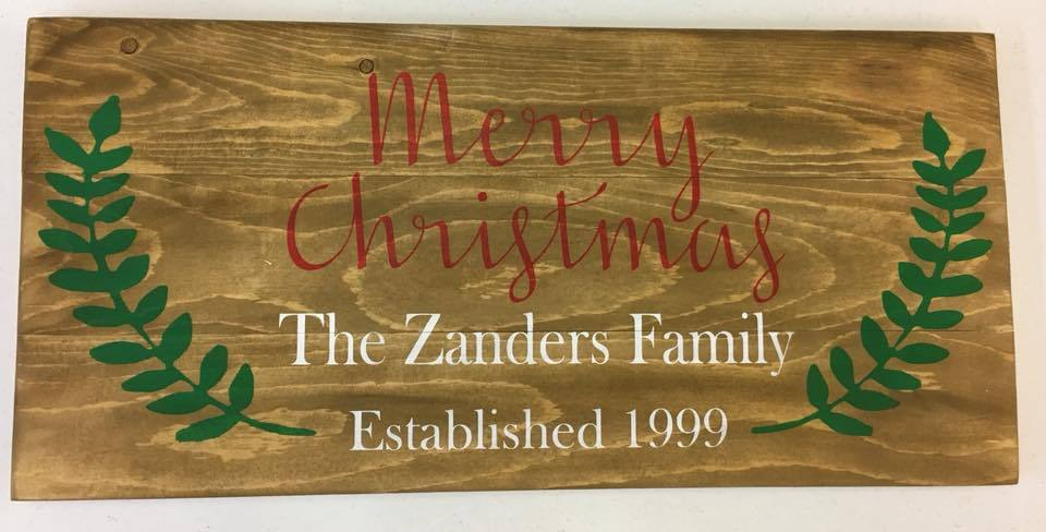 Merry Christmas Family name EST with leaves 10.5x30