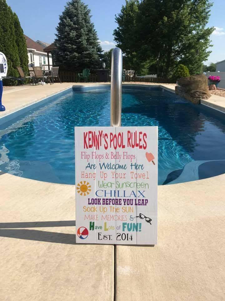 Pool Rules with family name 14x20
