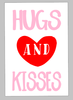 Valentines Day Tiles -Hugs and Kisses (And in heart)