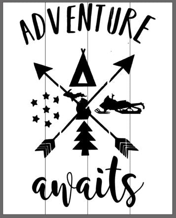 Adventure Awaits with crossing arrows an Michigan in the center 14x17
