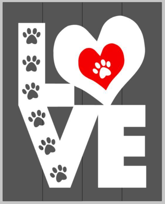 Love with paw prints in the letters 14x17