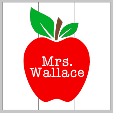 Apple with teachers name 14x14