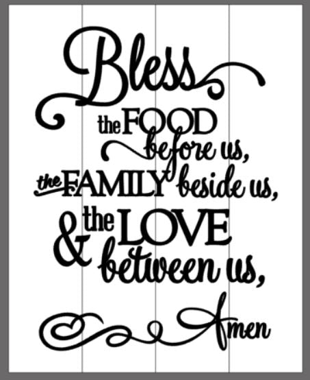 Bless the food before us, the family beside us..... Amen with long curls off the A 14x17