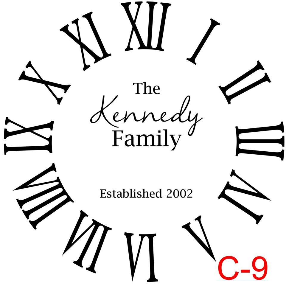 (C-9) Roman Numerals with no border insert The Kennedy family est date (cursive last name)