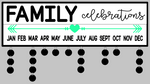 Celebration- Family celebrations with heart arrow 7x24 w/frame & tags