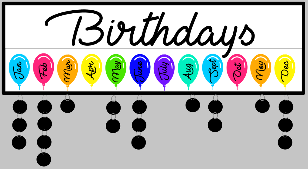 Celebration-Birthdays with balloons 7x24 w/frame & tags