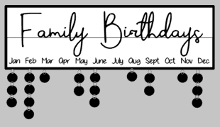 Celebration-Family birthdays w/frame & tags