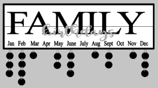Celebration- Family birthdays overlay 7x24 w/frame & tags