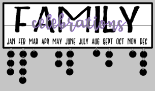 Celebration- Family celebrations overlay 7x24 w/frame & tags