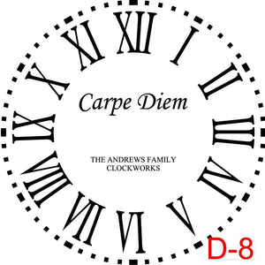 (D-8) Roman Numerals with Dotted Border insert Carpe Diem with family name and est date (D-8)