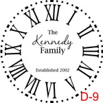 (D-9) Roman Numerals with Dotted Border insert The Kennedy family est date (cursive last name)