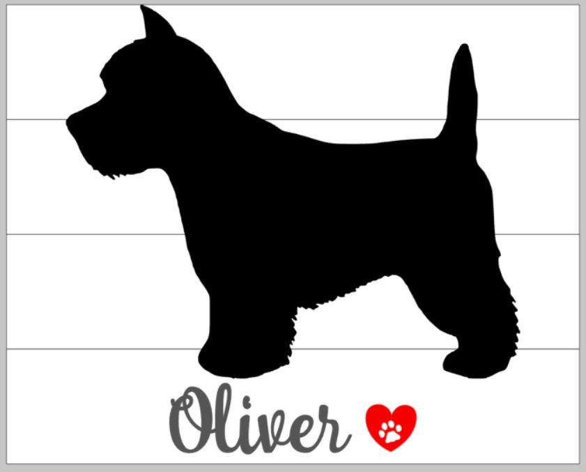 dog silhouette with name and heart 14x17