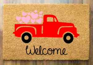 Welcome with truck and hearts