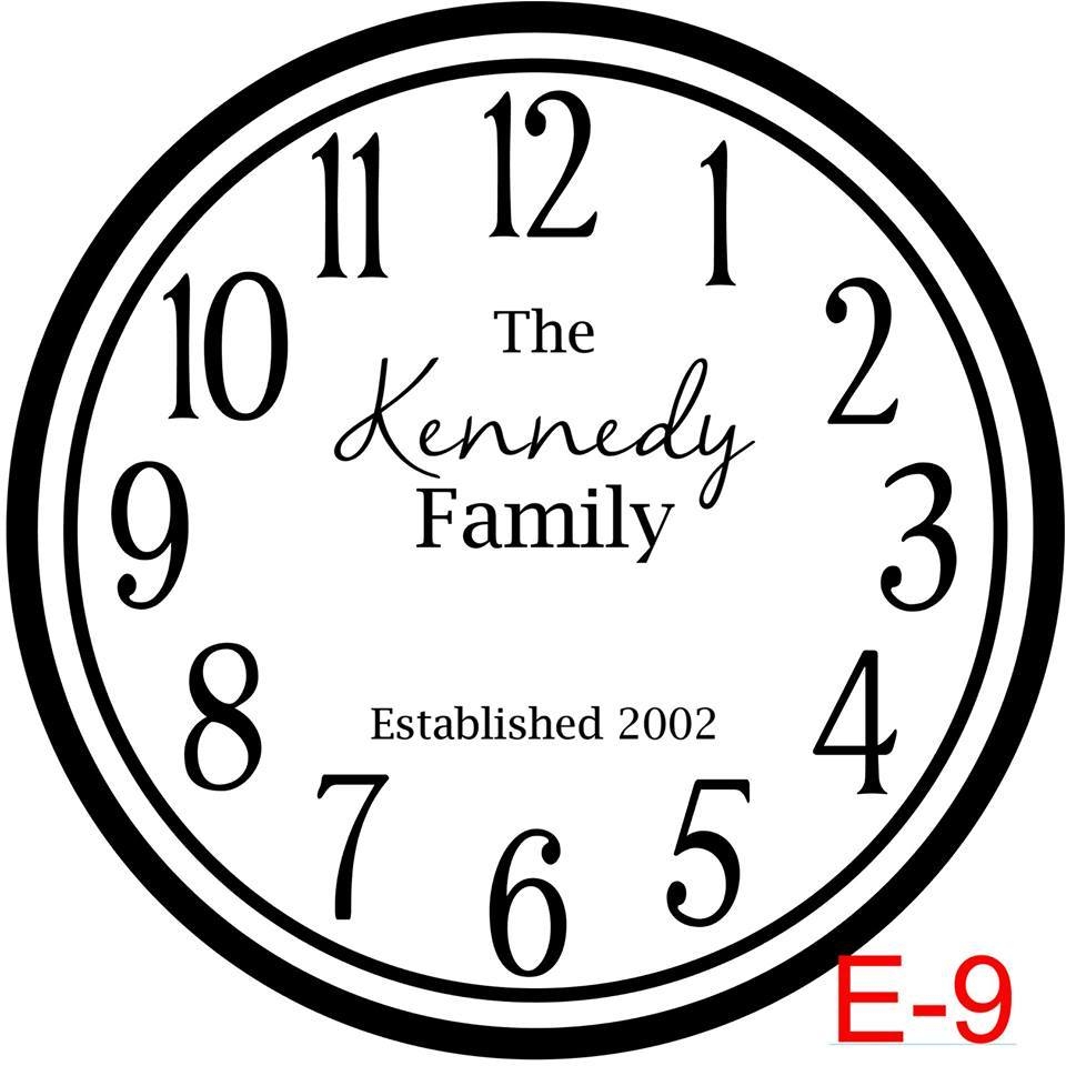 (E-9) Numbers with Circle border insert The Kennedy Family name and est date (cursive last name)