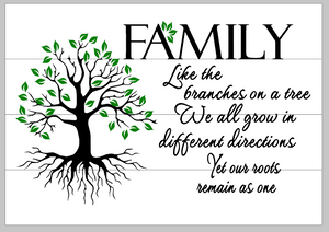 Family like the branches on a tree with roots 14x17