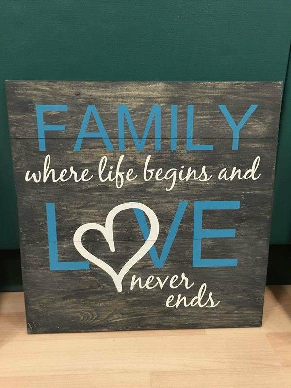 Family where life begins and love never ends-Heart in love 14x14