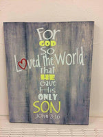 For god so loved the world-cross 14x17