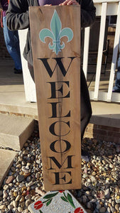 Welcome with fleur de lis  4ft