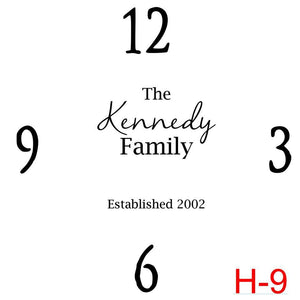 (H-9) Numbers 12, 3, 6, 9 insert The Kennedy family est date (cursive last name)
