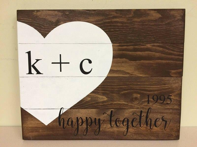 Happy together-Est and Couples initials inside heart 14x17