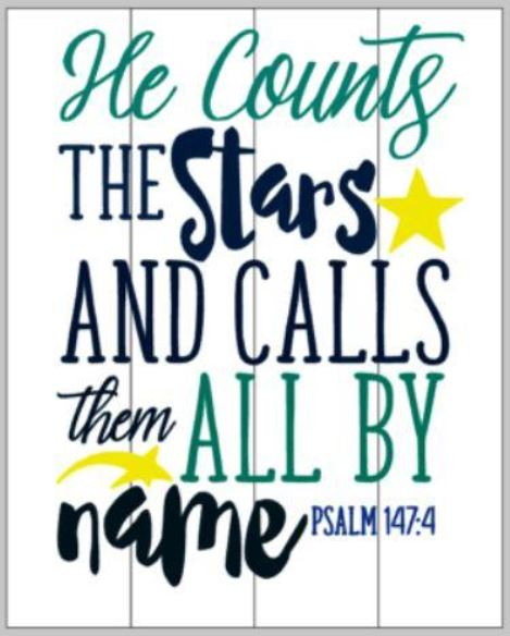 He counts all the stars and calls them by name 14x17