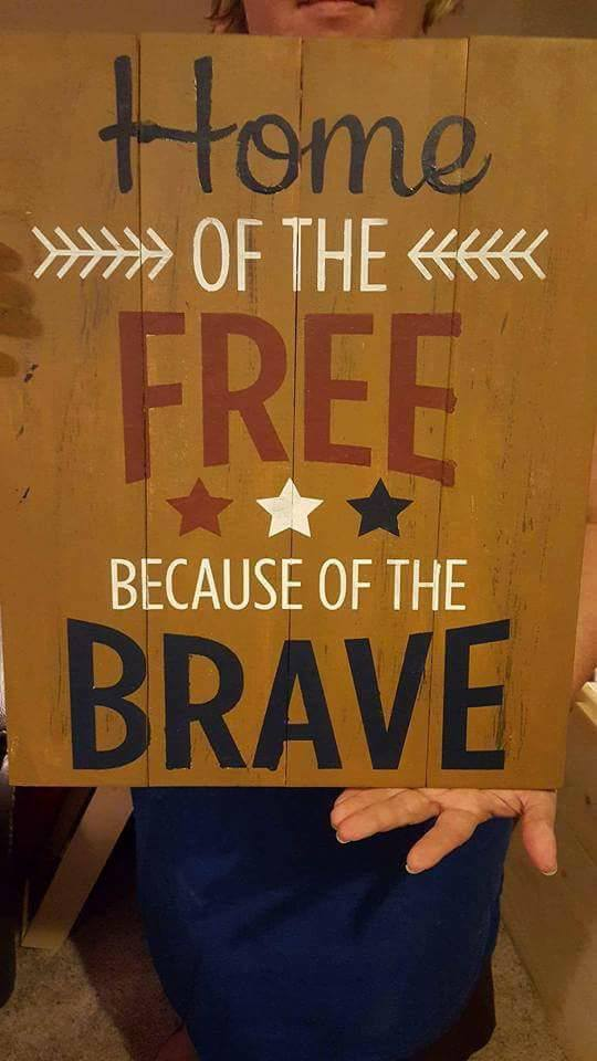Home of the free because of the brave 3 stars 14x17