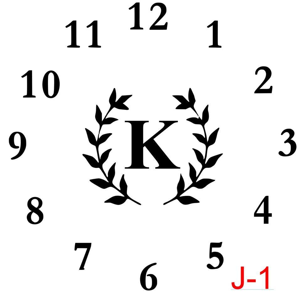 (J-1) Numbers insert laurel with letter