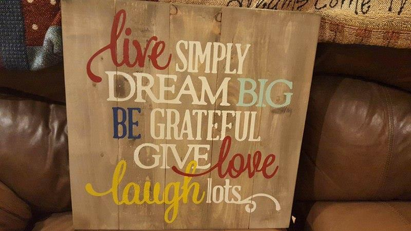 Live simply dream big- Live cursive 14x14