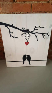 Love Birds with branch 10.5x14