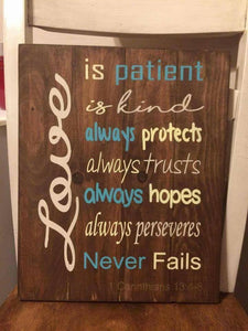 Love is patient love is kind 14x17
