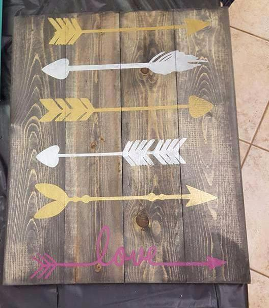 5 arrows with love at the bottom 14x17