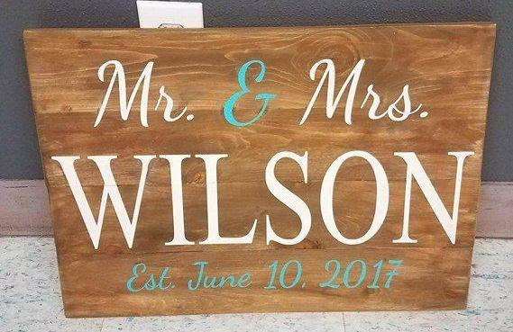 Mr and Mrs Last name wedding date 14x17