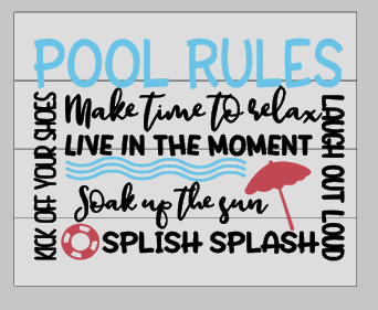 Pool rules make time to relax 14x17