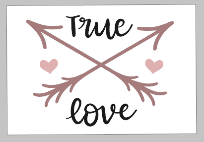 Valentines Day Tiles - True love with arrow and hearts