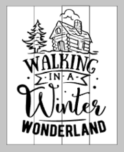 Walking in a winter wonderland with cabin 14x17