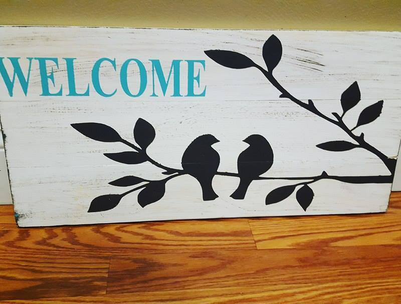 Welcome bird with branches 10.5x22