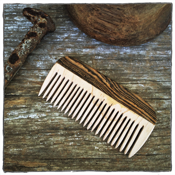 Handmade Wooden Hair and Beard Comb: Maple & Bocota - WizardWoodCraft