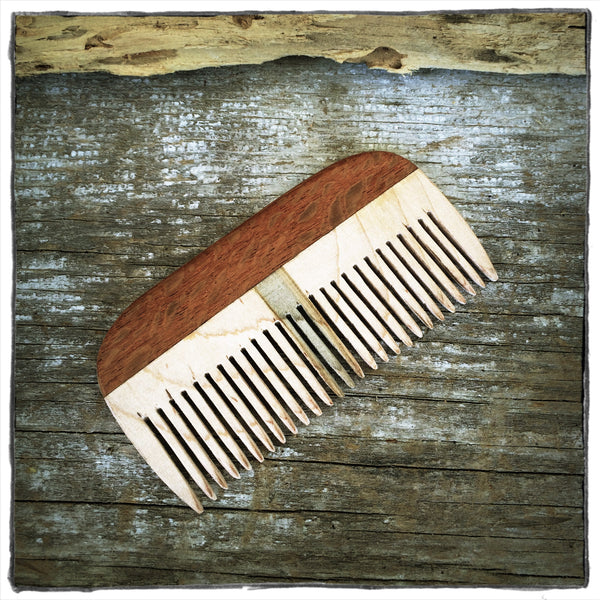 Handmade Hair & Beard Comb: Lacewood Handle & Rare Blue Striped Maple Teeth - LIMITED EDITION - WizardWoodCraft