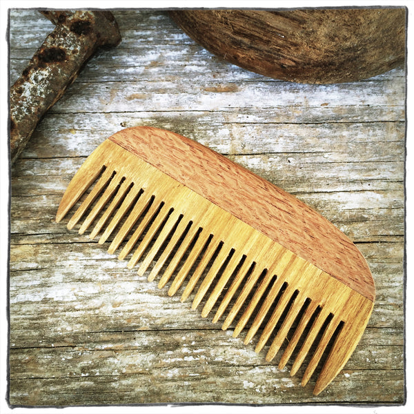 Handmade Wooden Hair and Beard Comb: Lacewood Handle & Canary Teeth - WizardWoodCraft