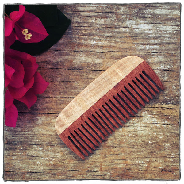 Handmade Wooden Hair and Beard Comb: Maple Handle & Rosewood Teeth - WizardWoodCraft