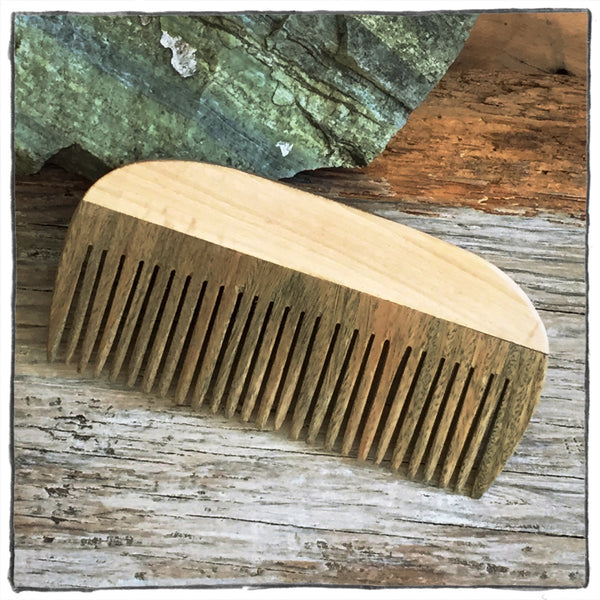 Handcrafted Wooden Hair and Beard Comb: Figured Maple Handle & Lignum Vitae Teeth